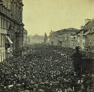 Procesja Bożego Ciała na Krakowskim Przedmieściu w Warszawie 30 maja 1861 rok Fot. ze zbiorów Muzeum Narodowego