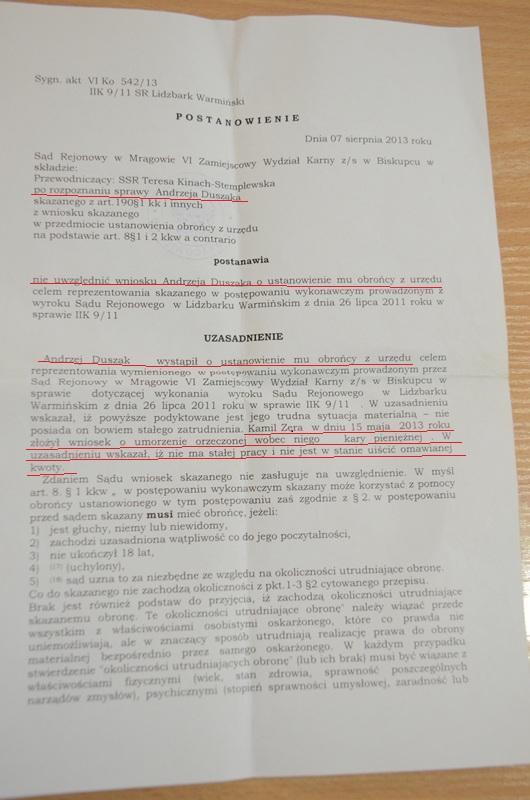 postanowienie o odmowie wyznaczenia adwokata z urzędu - z podkreśleniami