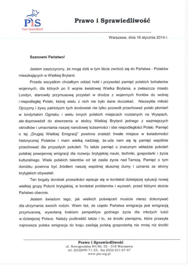 List Kaczyńskiego do polonii brytyjskiej str. 1