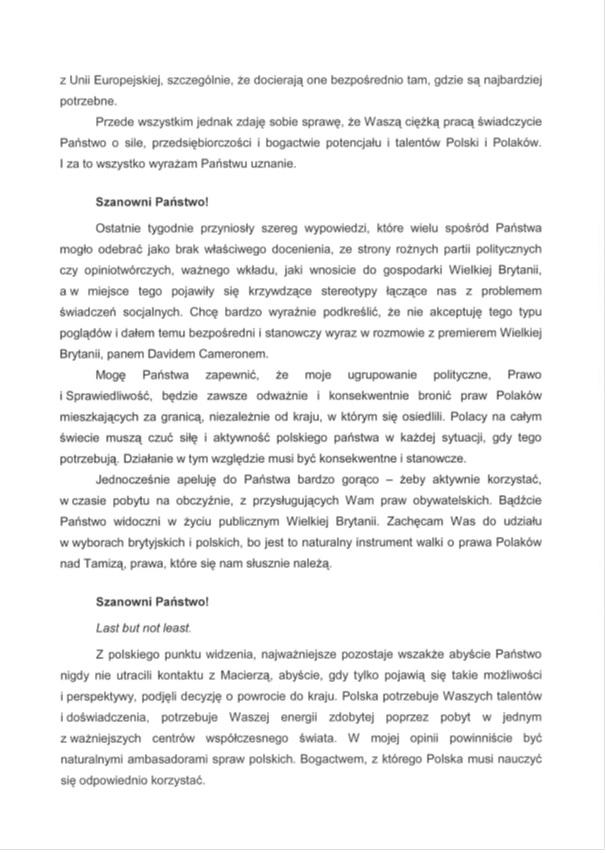 List Kaczyńskiego do polonii brytyjskiej str. 2