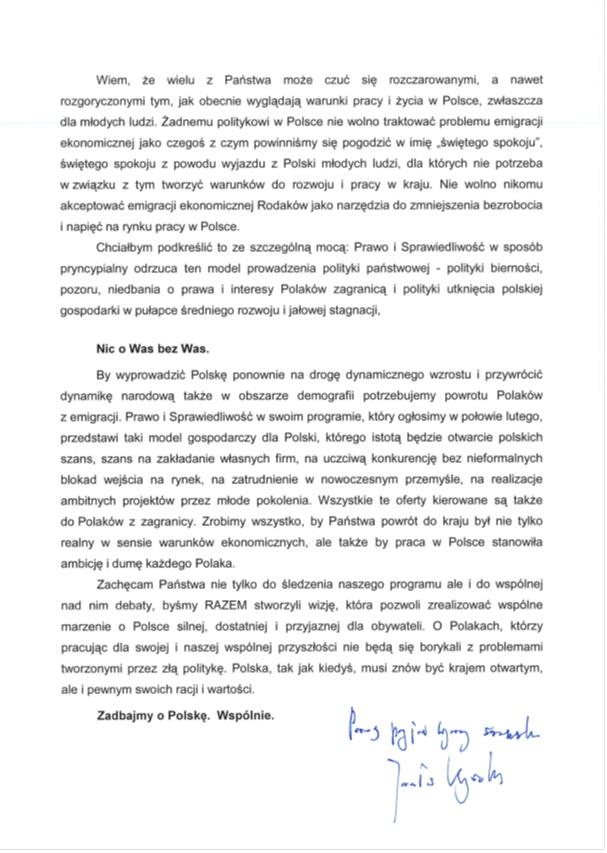 List Kaczyńskiego do polonii brytyjskiej str. 3