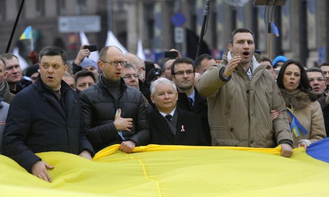 Jarosłaaw Kaczyński w Kijowie Fot. Sergei Grits  AP Rosyjskie media ostro krytykują polskich polityków za to, co robią na Ukrainie