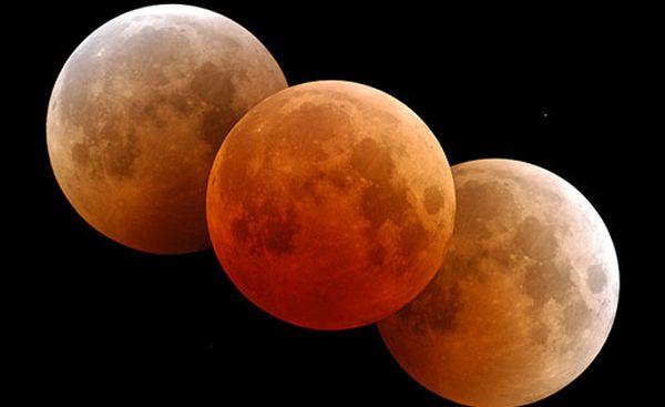 Przebieg całkowitego zaćmienia Księżyca (źródło:Fred Espenak / NASA's Goddard Space Center)